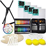 MEEDEN 53-Piece Acrylic Painting Set - Aluminum Table Easel, 24 Acrylic Paints, Stretched Canvas, Paint Brushes & Plastic Pal