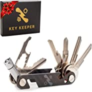 The Original Key Keeper Compact Key Organizer - Made of Carbon Fiber & Stainless Steel - LED Flashlight Screwdriver Wrench Bo
