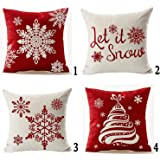 Andreannie Set of 4 Happy Winter Beige Shadow Various Let It Snow Snowflakes in Red Merry Cotton LinenThrow Pillow Case Perso