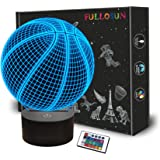 Basketball 3D Night Light for Kids,FULLOSUN Optical Illusion LED Lamp,16 Colors Changing Remote Control Sport Fan Room Decora