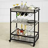 Haotian FKW56 Modern Design 3 Tiers Kitchen Trolley Serving Trolley with Wine Rack Metal & MDF (Grey)