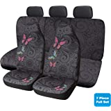 PIC AUTO Butterfly Patches Car Seat Covers Universal for Most Cars, Trucks, SUVs or Vans - Polycloth Full Set High Back Airba