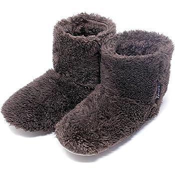 北欧 あったか もこもこルームシューズ 【Lサイズ 24.5-27.0cm】(全4色、Mサイズもあります) 寒い台所でもホカホカ暖かい 足首まですっぽり 冬用 防寒 ボアブーツ スリッパ【ブラウン】