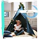 G-Eco Play Teepee Tent with Backpack for Kids, Blue Denim, Children Toy, Playhouse in Carry Bag,  Girls and Boys Indoor and O