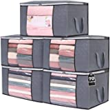 Vieshful Clothing Storage Bag, Thick Fabric Clothes Storage Organizer for Comforters, Blankets, Bedding, Clothing, 5 Pack, Gr