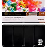 Mungyo Professional Half Pan Size Water Colors Set in Tin Case/Integral Mixing Palette in The lid 48 Colors