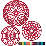 3 Set Silicone Trivet Mats With 1 Extra Large Included | Intricately Carved Insulated Flexible Durable Non Slip Thick Round P