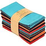 "Ruvanti Multi Color Cloth Napkins 12 Pack (18""X18"") Durable Linen Napkins - Soft and Comfortable Reusable Fabric Napkins -Per"