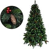 クリスマスツリー 枝大幅増量タイプ 松ぼっくり付き、赤い実付き、おしゃれな クリスマスツリー 180CM KSTT