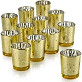 PARNOO Mercury Glass Candle Holders for Votive Candles and Tealights Set of 12 Sparkled Gold