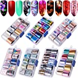 Duufin 70 Colors Nail Foil Stickers Starry Sky Nail Foil Adhesive Transfer Sticker Flower Foil Nail Art Polish Stickers Nail