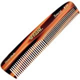 "Kent R7T""The Apsley"" Hand Made Fine and Coarse Toothed Saw-Cut Pocket Travel Comb (5"" / 130 mm) - Gentle On Scalp For Men/Wom"