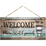 """Yankario Funny Wall Décor Sign for Bathroom, Farmhouse Rustic Bathroom Wall Art Pictures Decoration, 12""""×6"""" Please Seat Yours"""