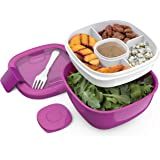 Bentgo Salad Lunch Container with Large 54-oz Salad Bowl, 3-Compartment Bento-Style Tray for Salad Toppings and Snacks, 3-oz