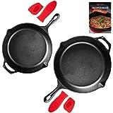 Uno Casa Cast Iron 2-Piece Skillet Set - 10 Inch, 12Inch Pre-Seasoned Frying Pan - Oven Safe