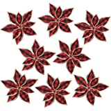 FUNARTY 12 Pieces Red Buffalo Plaid Poinsettias Christmas Tree Ornaments Artificial Christmas Flowers 6.7 Inch for Christmas