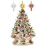 RJ Legend 15-Inch Champagne Gold Festive Ceramic Christmas Tree – Pre-lit Winter Tree Décor with Multicolor Lights – Mini Dec