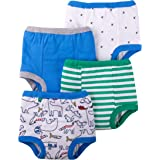 Lamaze Organic Baby Boys Reusable and Washable Toddler Potty Training Pants, Cotton Cloth, 4 Pack, Blue/Green/Animal, 2T