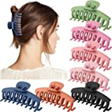 7 Pack Korean women's big Hair Claw Clips, 5 colors Alec hairpins, Very Strong Hold for Thick Hair