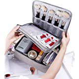 Rownyeon Makeup Train Cases Travel Makeup Bag Waterproof Portable Cosmetic Cases Organizer Mini with Adjustable Dividers for