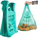 Stock Your Home Eco Grocery Bags (100 Count) Biodegradable Plastic Grocery Bags - Reusable Supermarket Thank You Shopping Bag