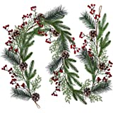Christmas Artificial Pine Garland with Spruce Cypress Berries Frosted Pinecones Winter Greenery Garland for Holiday Season Ma