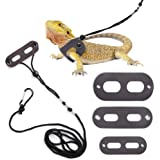 POLKASTORE Bearded Dragon Harness and Leash Adjustable(S,M,L, 3 Pack) - Soft Leather Reptile Lizard Leash for Amphibians and