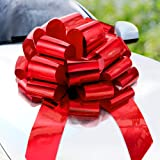 Zoe Deco Big Car Bow (Red, 58 cm) Round Shape Gift Bows, Giant Bow for Car, Birthday Bow, Huge Car Bow, Car Bows, Big Red Bow