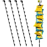 """Pack of 4 – 12 Station Hanging Merchandise Strips with Hooks, 31"""" Metal Display Clip Strips for Retail Display with Label Hea"""