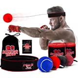 Boxing Reflex Ball Set, 4 Difficulty Level Training Balls On String, Punching Fight React Head Ball with Headband, Speed Hand