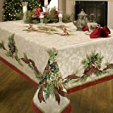 Benson Mills Christmas Ribbons Engineered Printed Fabric Tablecloth, 52-Inch-by-70 Inch
