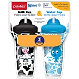 Playtex Sipsters Stage 3 Milk and Water Spill-Proof, Leak-Proof, Break-Proof Insulated Toddler Straw Sippy Cup Set, 9 Ounce -