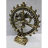 "JGARTS Hindu God Deity Shiva Dancing Nataraja Natraj Brass Statue Sculpture for Home Decor Temple Mandir 6.5"""