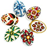 BestPysanky Set of 6 Hand Painted Ukrainian Wooden Easter Eggs 2.5 Inches