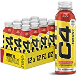 C4 Energy Non-Carbonated Zero Sugar Energy Drink, Pre Workout Drink + Beta Alanine, Fruit Punch, 12 Fl Oz (Pack of 12)