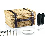 Picnic Time Champion Picnic Basket with Deluxe Service for 2, Black