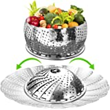"""Vegetable Steamer Basket for Cooking, Large (6.5"""" to 11"""") Stainless Steel Steamer Basket Folding Expandable Steamers to Fit V"""