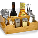 Bamboo Utensil Holder Wooden Caddy Set , Silverware Flatware Beer Tray For Spoons Knives Forks Napkins Chopsticks Condiments