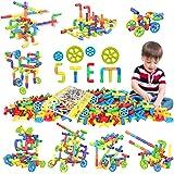 250 Pieces STEM Building Blocks, Pipe Tube Sensory Toys, Creative Tube Locks Construction Set with Wheels, with Storage Box,