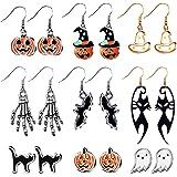 9 Pairs Halloween Stud Earrings Halloween Drop Dangle Earrings Pumpkin Black Cat Stud Earrings for Women Halloween Party Dres