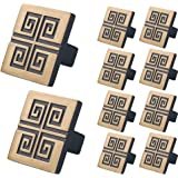 WELLOCKS Cabinet Knob 10 Pack Retro Gold, Heavy Duty Square Drawer Pulls, Zinc Alloy Cabinet Hardware for Office and Home Kit