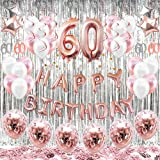 SeeMaxs 60th Birthday Decorations Balloons (55pack)Rose Gold 60 Balloons Number Happy 60 Party Supplies for Her-Perfect for B