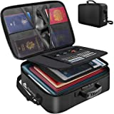 Fireproof Document Bag - Waterproof File Organizer Bag with Lock, The 3-Layer Certificate Bag with Zipper is Portable & Shoul