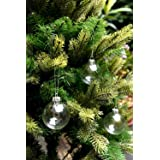 SparkleStyle Clear Round Glass Christmas Tree Baubles Spheres Ornaments, 6 cm in diameter (12-Pieces)