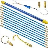 Akuoly 通線ワイヤー 配線通し 58cm×10本 入線呼線工事専用ワイヤー 先端金具 収納ケース付 5.8m 藍