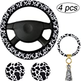4 Pieces Cow Print Car Accessories Set, Cow Steering Wheel Cover, Cow Car Coasters and Cow Keyring Bracelet for Car, Truck, S