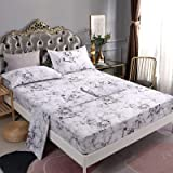 Mengersi Marble Sheet Set - White Luxury Hotel Bed Sheets - Extra Soft - Deep Pockets - 1 Fitted Sheet 1 Flat 2 Pillow Cases