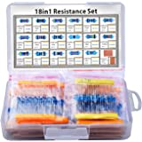 Kuman K78 525 Resistor Set, For Rasbperry Pi, Basic Parts, 17 Types, 0 Ω to 1 MΩ (525 Pieces) + 2 x 7 inches (5 x 7 cm), PCB