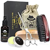 Beard Care Grooming & Trimming Kit for Men Gift, Wooden Beard Comb, Beard Oil, Mustache Wax Balm,100% Pure Boar Bristles Brus