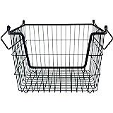 DII Stackable, Convenient Metal Storage Bin for Office, Bedroom, Kitchen, Closet, & Everyday Storage Needs, Black - Medium